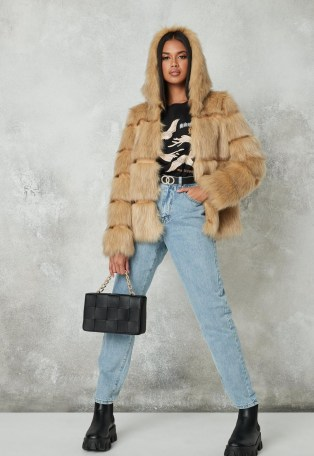Missguided premium beige pelted faux fur hooded coat | fluffy winter coats with hood