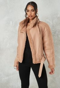 MISSGUIDED premium brown borg belted aviator jacket ~ faux fur winter jackets