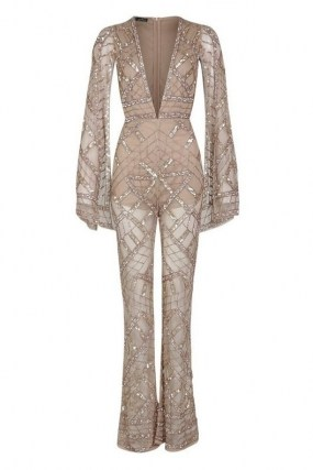 boohoo Premium Embellished Cap Sleeve Jumpsuit / daring deep plunge jumpsuits / sparkling sequin party fashion - flipped