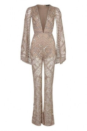 boohoo Premium Embellished Cap Sleeve Jumpsuit / daring deep plunge jumpsuits / sparkling sequin party fashion