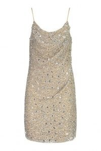 boohoo Premium Embellished Cowl Neck Mini Dress / glittering skinny strap party dresses