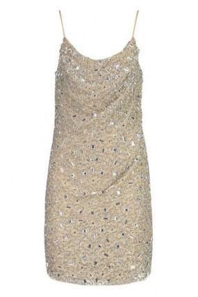 boohoo Premium Embellished Cowl Neck Mini Dress / glittering skinny strap party dresses