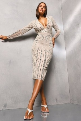 boohoo Premium Hand Embellished Plunge Neck Midi Dress / deep v neckline / plunging sequinned party dresses