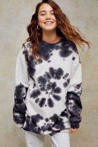 TOPSHOP Premium Leisure Black And White Tie Dye Sweatshirt Dress
