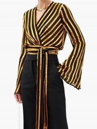 GALVAN Pride sequinned striped wrap blouse ~ flared sleeve sequinned party tops ~ glamorous evening wear