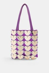 TOPSHOP Purple Metal Heart Grab Bag ~ small retro bags ~ hearts