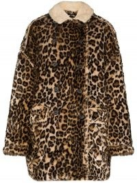 R13 leopard print oversized coat / faux fur winter coats / wild animal prints