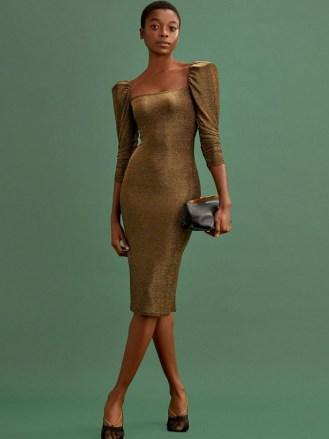 REFORMATION Rahm Dress Bronze Sparkle - flipped