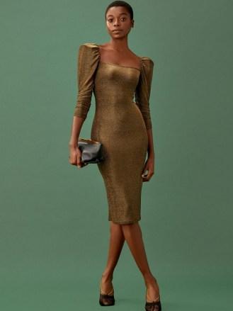 REFORMATION Rahm Dress Bronze Sparkle