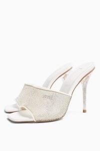 TOPSHOP RATTLE Silver Diamante Mules ~ party heels