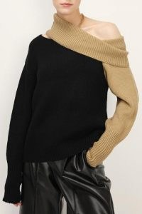 storets Leslie Cut Out Shoulder Sweater | asymmetric sweaters | asymmetrical jumpers | colour block knitwear