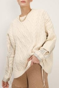 storets Kathy Shirt Combo Knit Pullover | cable knit jumpers with shirt detail