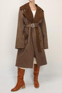 storets Audrey Shearling Belted Faux Leather Coat | brown winter coats