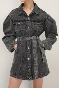storets Phoebe Puff Sleeve Denim Dress w/Belt | casual self tie dresses
