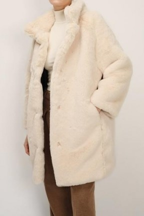 storets Brielle Faux Mink Long Coat | luxe style winter coats - flipped