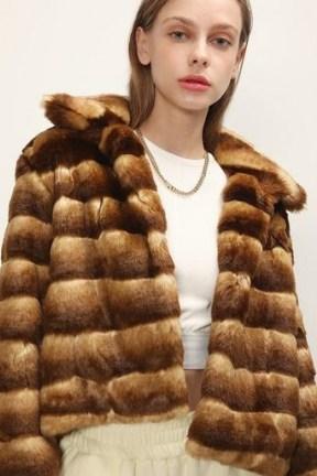 STORETS Raegan Striped Cropped Faux Fur Jacket / brown winter jackets - flipped