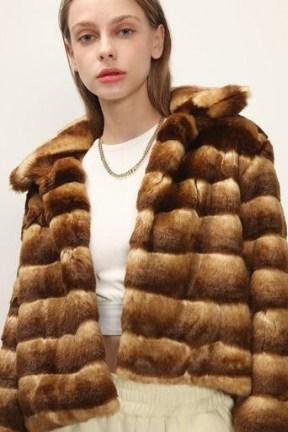 STORETS Raegan Striped Cropped Faux Fur Jacket / brown winter jackets