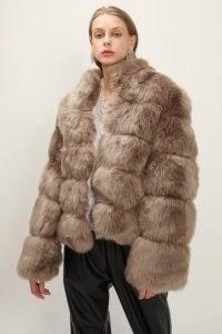 STORETS Blair Ribbed Faux Fur Jacket / brown fluffy jackets