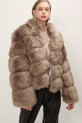 STORETS Blair Ribbed Faux Fur Jacket / brown fluffy jackets - flipped