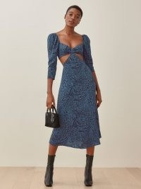 REFORMATION Rayne Dress / blue animal print cut out dresses