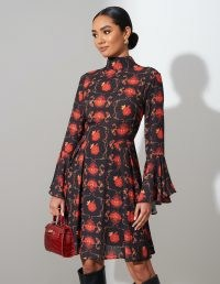 FOREVER UNIQUE Red And Black Floral Midi Dress / high neck / flared sleeve dresses