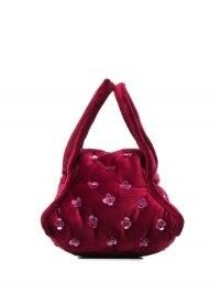 Khaore flower appliqué detailed handbag / small vintage style bags / burgundy handbags