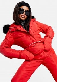 MISSGUIDED red ski jacket with mittens and bumbag – winter sports jackets