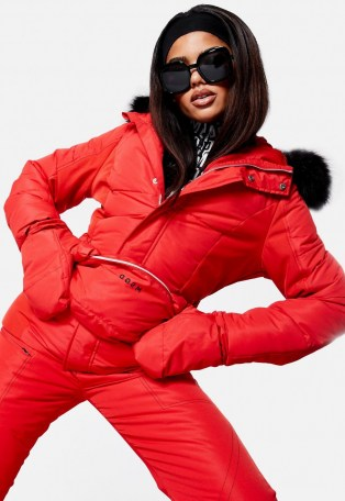 MISSGUIDED red ski jacket with mittens and bumbag – winter sports jackets - flipped