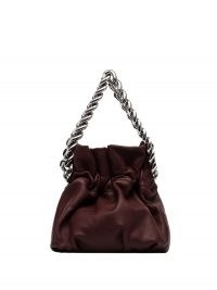 STAUD Grace chain handle mini bag in burgundy leather | small chunky strap bags