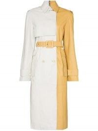 Remain Pirello white and yellow sheepskin trench coat | colour block coats