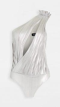 Retrofete Cassie Thong Bodysuit | metallic silver plunging bodysuits