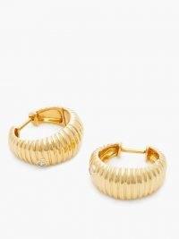 YVONNE LÉON Ridged diamond & gold hoop earrings ~ textured jewellery ~ ridge detail hoops