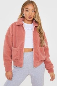 IN THE STYLE ROSE TEDDY FUR BOMBER JACKET ~ pink faux fur front zip jackets