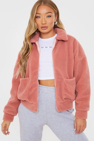 IN THE STYLE ROSE TEDDY FUR BOMBER JACKET ~ pink faux fur front zip jackets - flipped