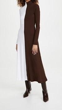Rosetta Getty Long Sleeve Zip Up Turtleneck Dress ~ high neck colour block dresses