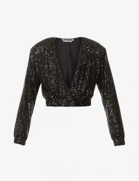 ROTATE BIRGER CHRISTENSEN Judy padded-shoulder cropped sequinned jacket – black sequin crop hem evening jackets