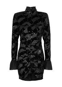 ROTATE BIRGER CHRISTENSEN Miki embellished stretch-velvet mini dress – sparkly high neck party dresses – glamorous occasionwear – evening glamour