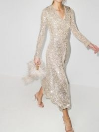 ROTATE sequin embroidered midi dress / sparkling evening dresses / party glamour