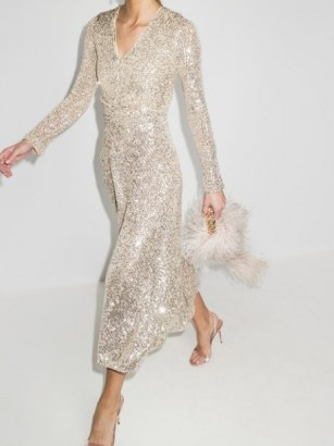 ROTATE sequin embroidered midi dress / sparkling evening dresses / party glamour - flipped