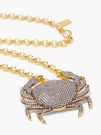 BEGUM KHAN Royal Crab crystal & 24kt gold-plated necklace / large pendant necklaces / embellished pendants / statement sea inspired jewellery