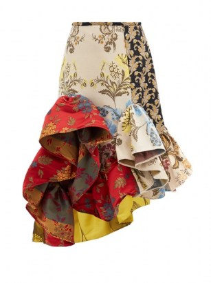 MARQUES'ALMEIDA Ruffled patchwork-jacquard upcycled-satin skirt / flamenco style floral skirts / extreme ruffles / mixed prints - flipped