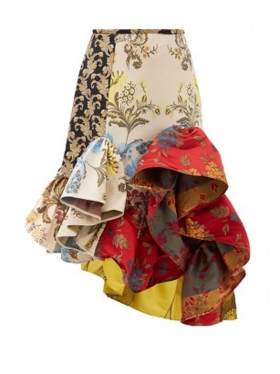 MARQUES'ALMEIDA Ruffled patchwork-jacquard upcycled-satin skirt / flamenco style floral skirts / extreme ruffles / mixed prints