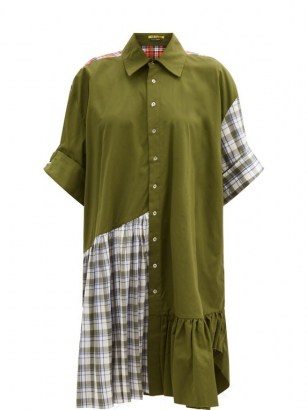 MARQUES'ALMEIDA Ruffle-hem upcycled patchwork cotton shirt dress / khaki green checked dresses - flipped