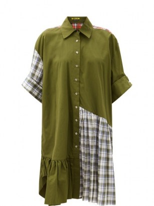 MARQUES'ALMEIDA Ruffle-hem upcycled patchwork cotton shirt dress / khaki green checked dresses