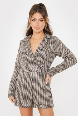 SAFFRON BARKER BROWN TWEED HOUNDSTOOTH PLAYSUIT / dogtooth check playsuits - flipped