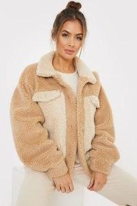 SAFFRON BARKER CAMEL COLOUR BLOCK BORG TRUCKER JACKET ~ textured neutral jackets