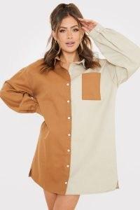 SAFFRON BARKER STONE COLOUR BLOCK DENIM OVERSIZED SHIRT DRESS – casual colourblock dresses