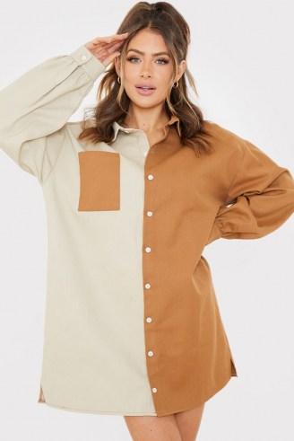 SAFFRON BARKER STONE COLOUR BLOCK DENIM OVERSIZED SHIRT DRESS – casual colourblock dresses - flipped