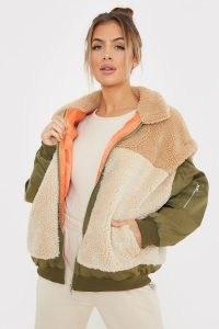 SAFFRON BARKER TEDDY FUR CAMEL COLOUR BLOCK PADDED ~ casual textured faux fur jackets