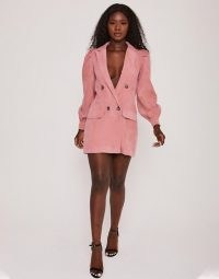 Saint Genies corduroy puff sleeve blazer dress in rose ~ pink jacket dresses
